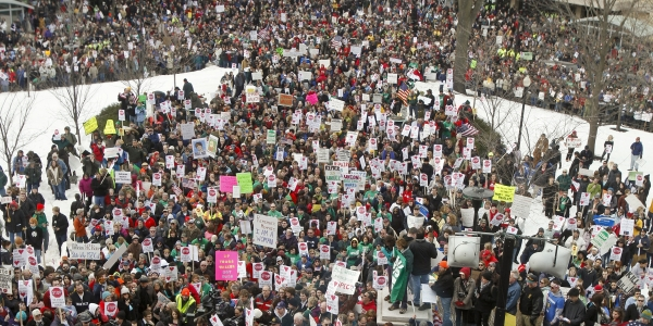 Students and Professors Join Thousands Rallying Against Wisconsin Governor's Plan 1