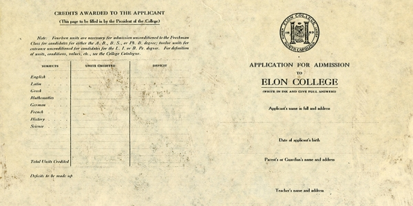 Elon College's Application, 1913: Have You Read Any Homer? - The